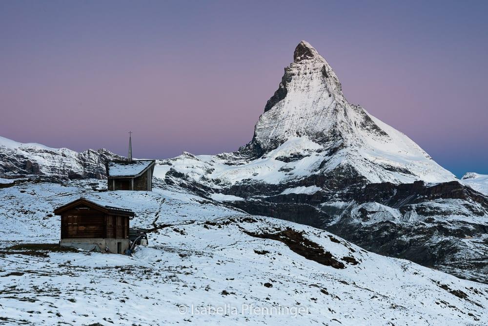 Riffelalp: Matterhorn-Foto in der blauen Stunde
