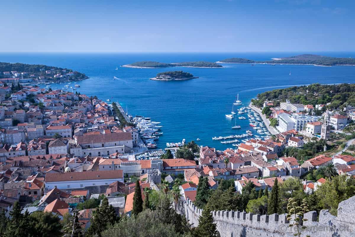 Ausblick von der Festung Spanjola Hvar Kroatien