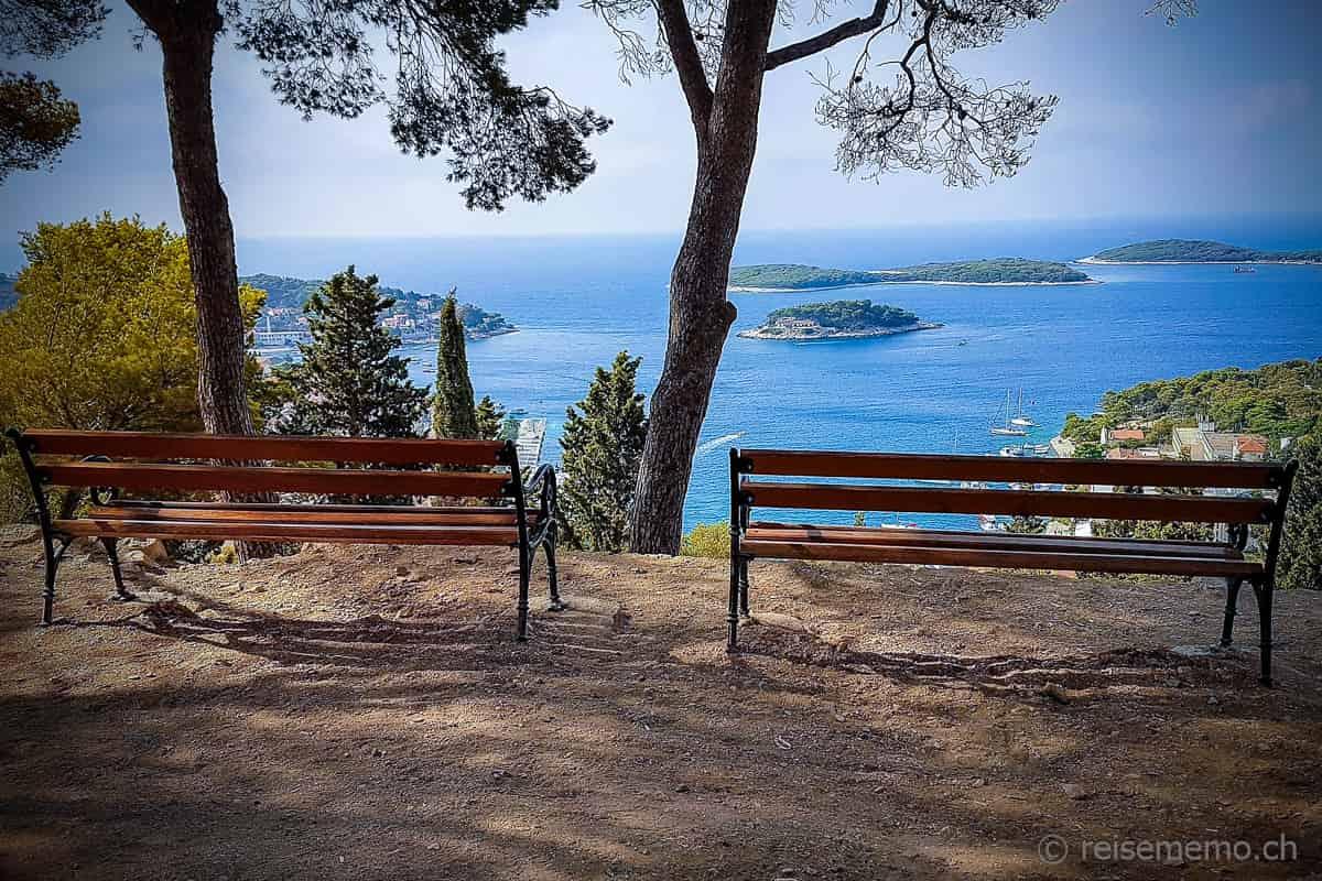 Festung La Španjola Hvar, Kroatien, mit Ausblick auf die vorgelagerten Inseln