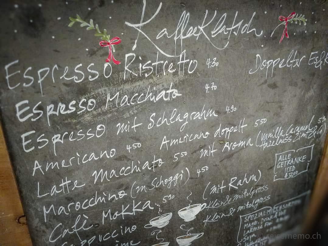 Auswahl von über 20 Cafés im KaffeeKlatsch Rapperswil