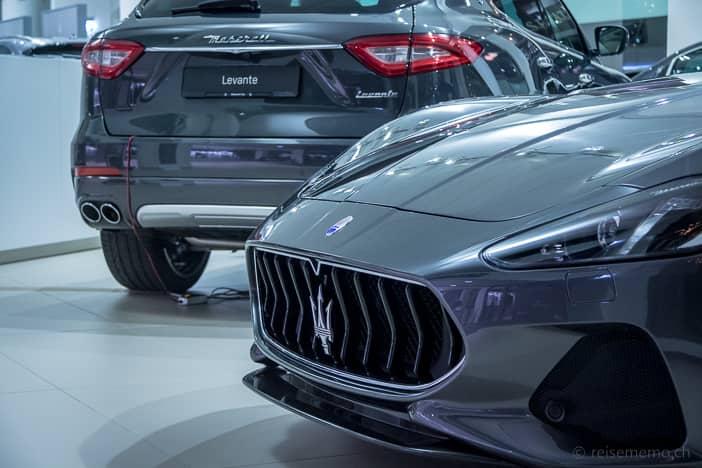 Maserati-Modelle im Showroom Zürich-Bellerive