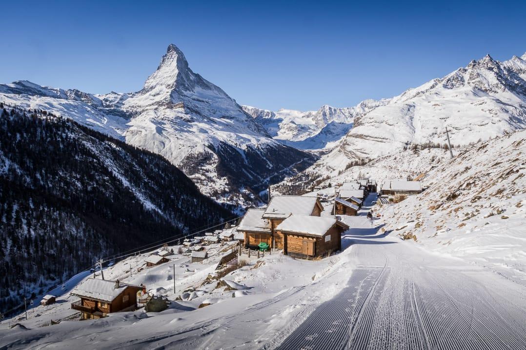 Auf dem Weg nach Findeln mit dem Matterhorn im Hintergrund