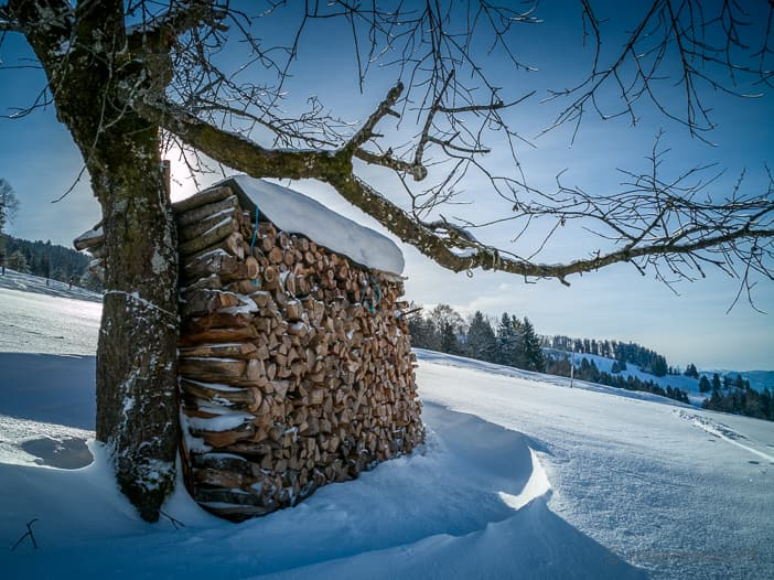 Holzstapel im Atzmännig