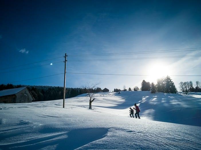 Schneeschuhwanderer im Atzmännig