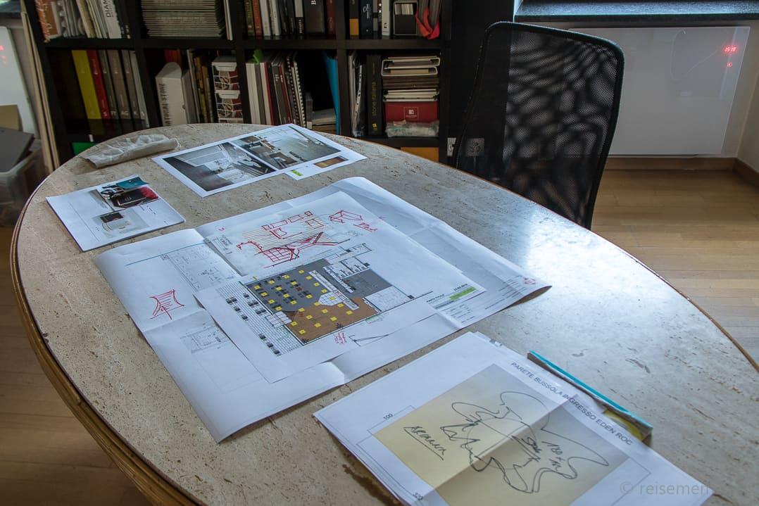 Architekturzeichnung im Atelier Selvaggio Carlo Rampazzi