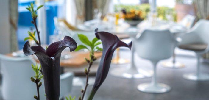 Calla-Arrangement im Marina Restaurant Ascona