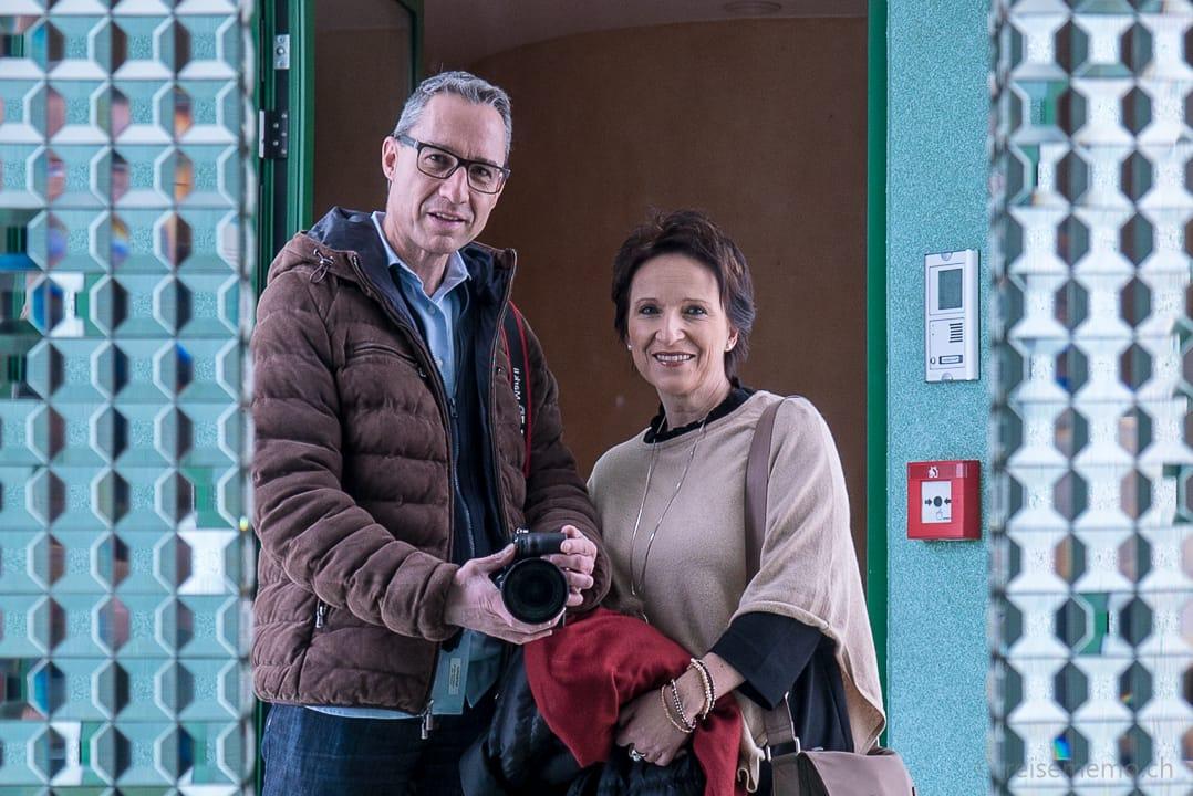 Walter Schärer und Katja Birrer mit Sefie im Marina Restaurant Ascona
