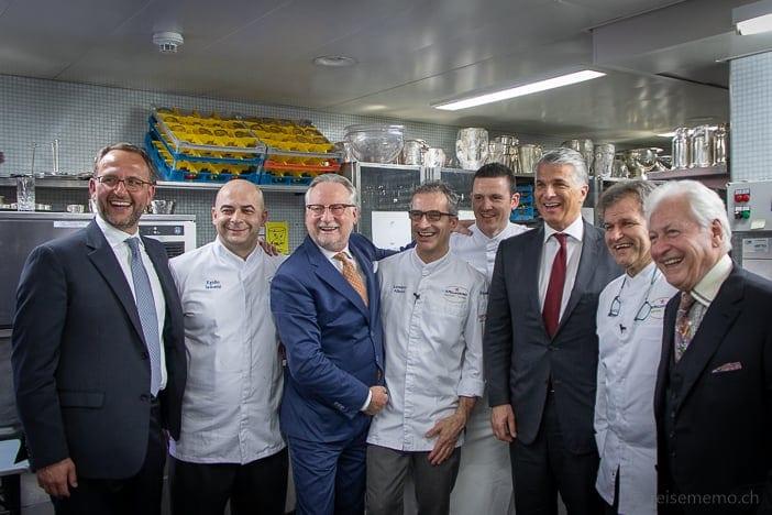 Dany Stauffacher mit Tessiner Staatsrat Norman Gobbi, Sapori Ticino Chefs und UBS CEO Sergio Ermotti