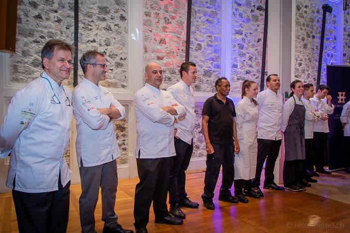 Chefs Dario Ranza, Lorenzo Albrici, Egidio Iadonisi, Tino Staub und Widder Hotel Küchenbrigade