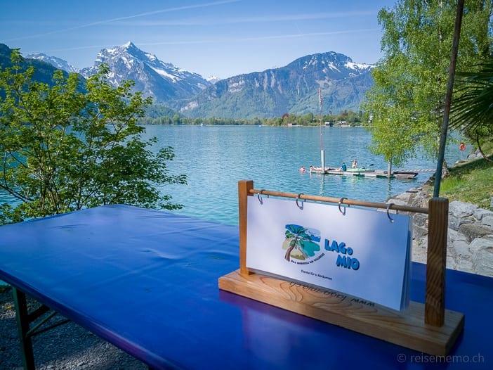 Lago Mio Restaurant mit Rautispitz im Hintergrund