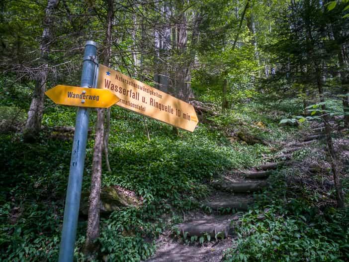 Wanderweg zum Wasserfall und zur Rinquelle