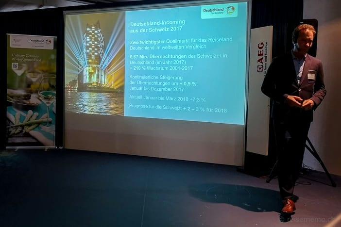Das Reiseland Deutschland auf Wachstumskurs: Harald Henning von der DZT Schweiz präsentiert die neuesten Zahlen zur Tourismus-Entwicklung aus der Schweiz