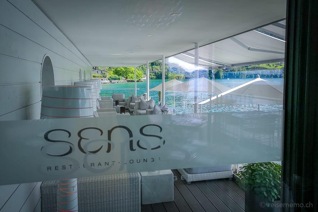 Logo und Zugang zur Sens-Lounge im Vitznauerhof