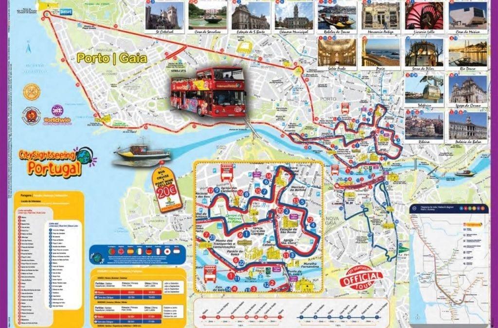 Karte von Porto mit der Route des Hop-On Hop-Off Stadtrundfahrtbusses