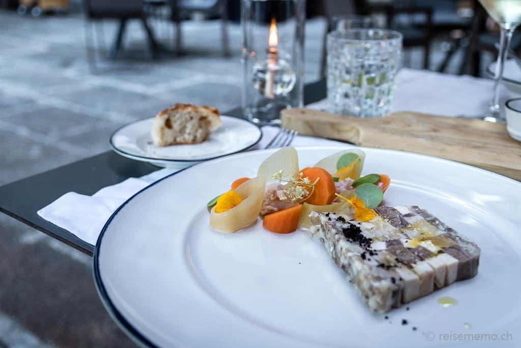 Terrine zur Vorspeise im Restaurant des Six Senses Douro Valley