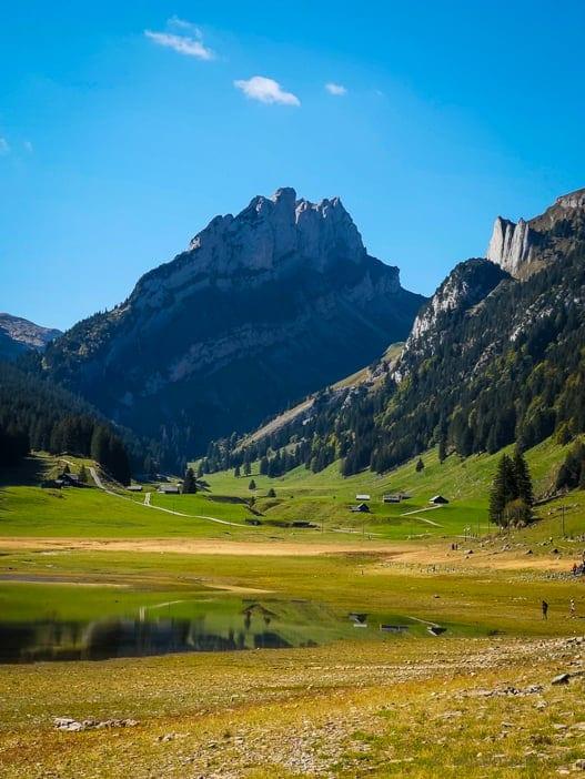 Sämtisersee im Alpstein, der Bergsee ist fast ausgetrocknet