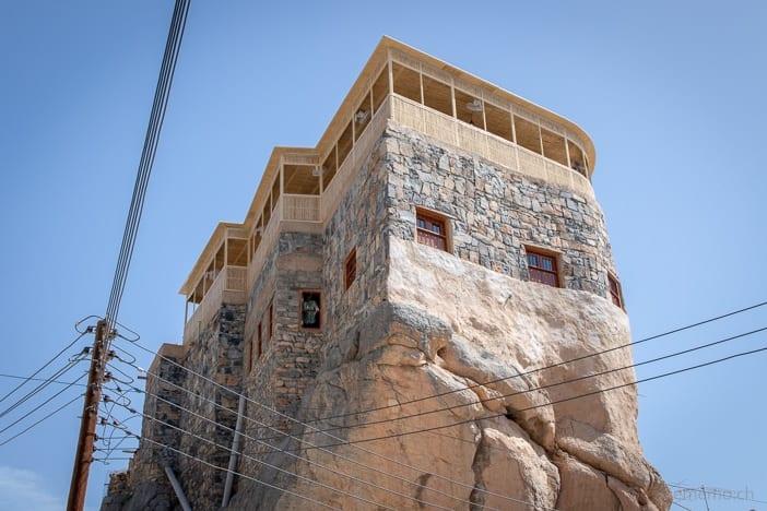Hotel Hissen Al-Misfah mit Dachterrasse auf einem Felsen