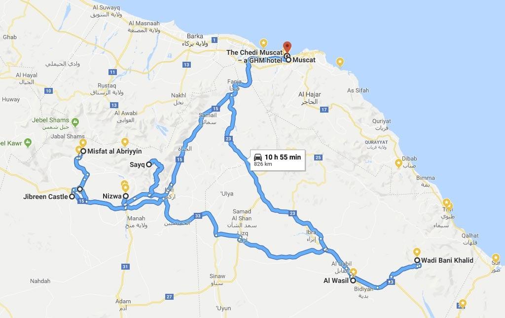 Route des Oman-Roadtrips Muscat - Nizwa - Al Wasil - Muscat
