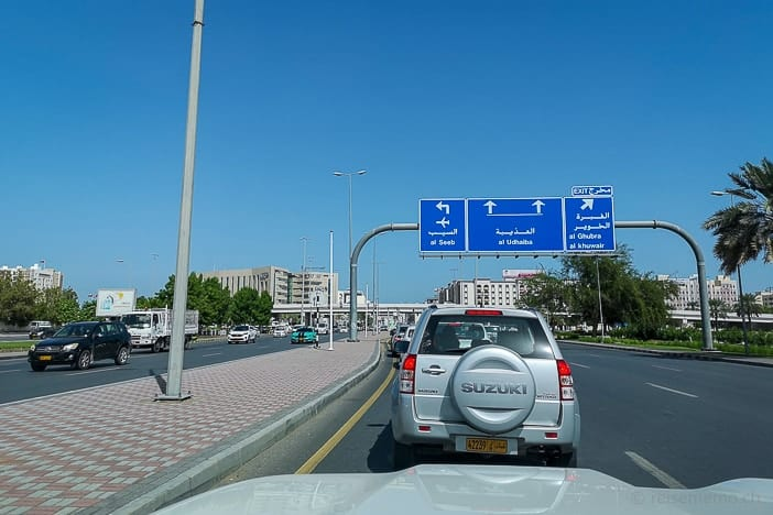 Traffic conditions in Muscat