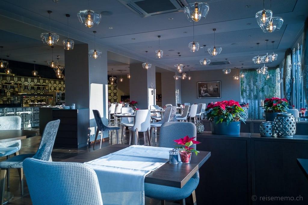 Morgensonne im Restaurant La Fontana