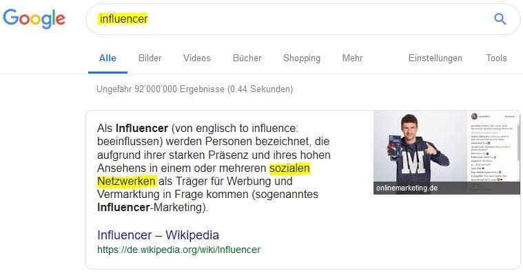 """Definition von """"Influencer"""" gemäss Wikipedia"""