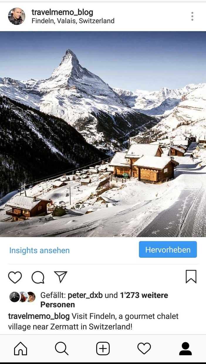 Mein beliebtestes Instagram-Foto stammt aus Findeln bei Zermatt.