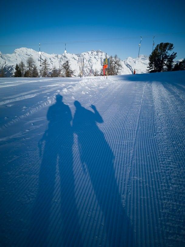 Walter & Katja auf Winterwanderung zum Plan du Fou und nach Siviez