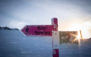 Wegweiser am Winterwanderweg Heidi & Gigi Weg