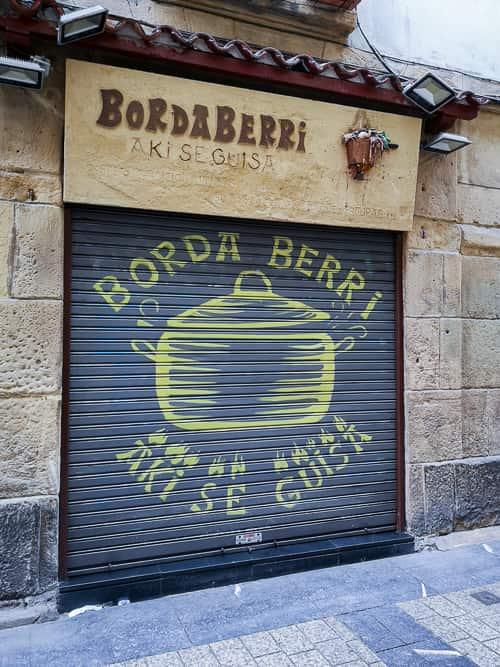 Geschlossene Borda Berri Pintxo-Bar in San Sebastián