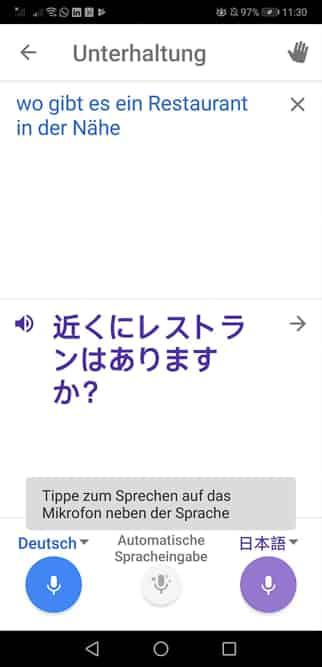 Google Translate übersetzt simultan, hier von Deutsch auf Japanisch