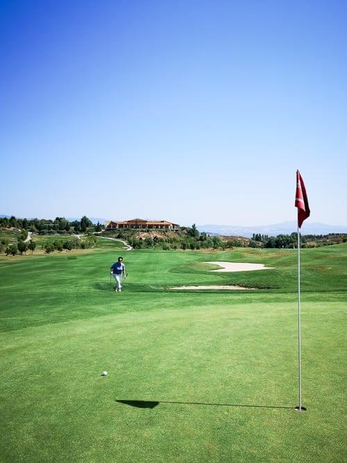 Katja am ersten Green des Logroño Golf