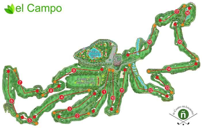 Karte der Fairways des Logroño Golfplatzes