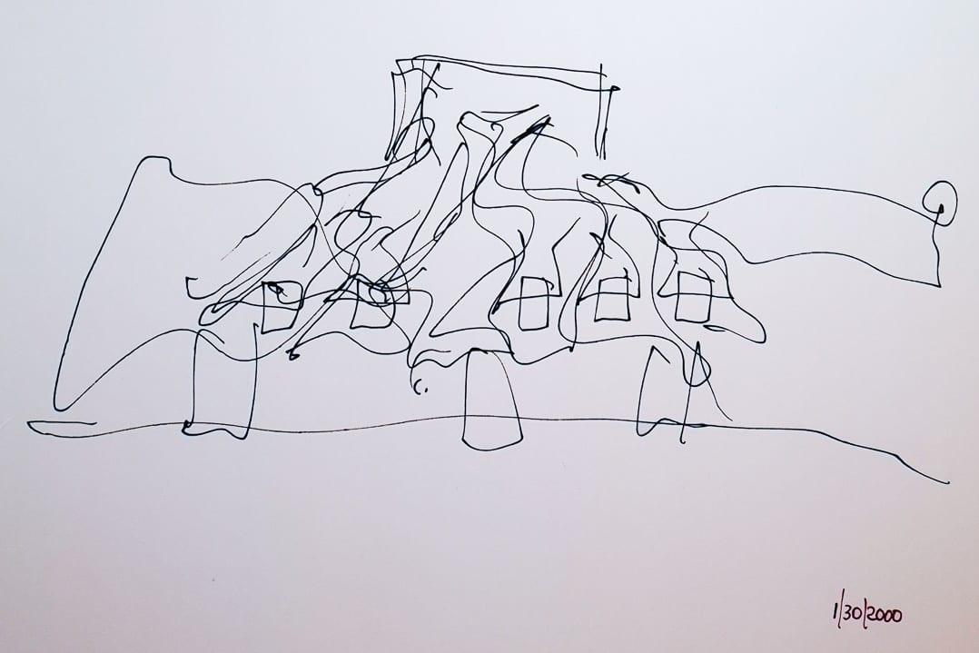 Architekturskizze von Frank O. Gehry für das Weingut Marqués de Riscal