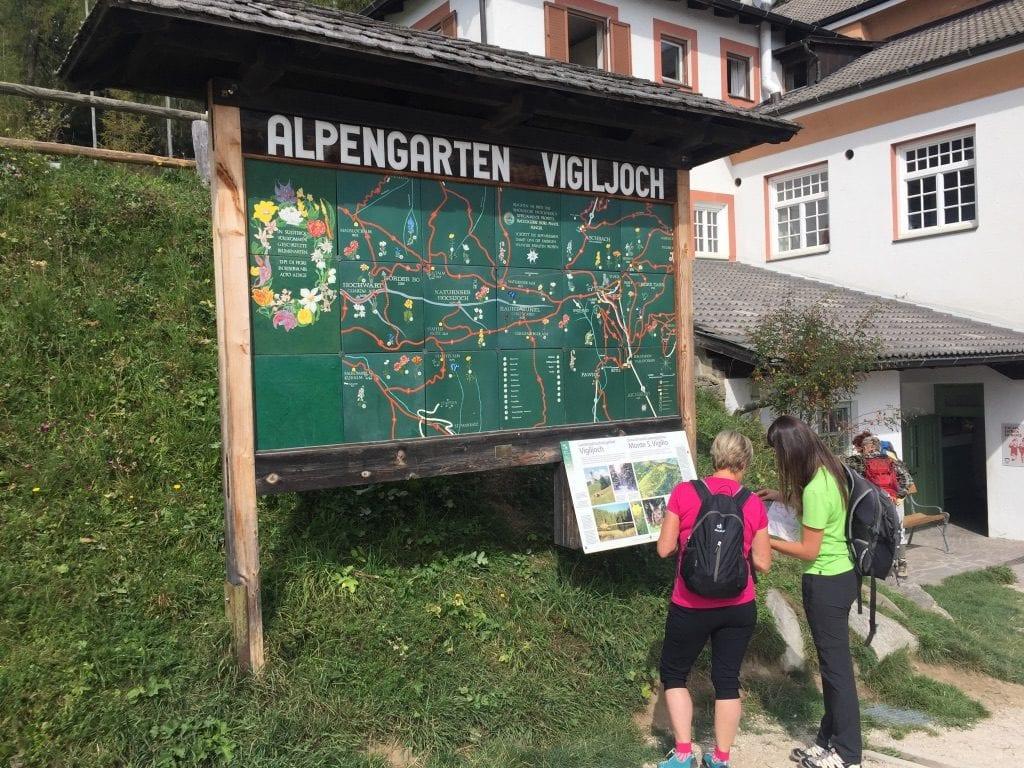 Wanderer vor der Informationstafel Alpengarten Vigiljoch