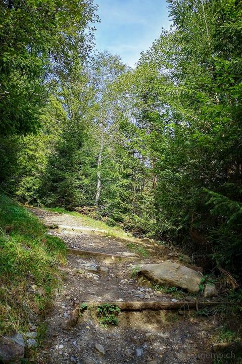 Steiler Wanderweg zum Lag da Pigniu