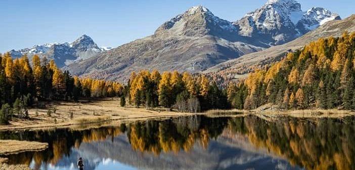 Ausflugsziel, Herbst, Herbstwanderung, Lej da Staz, Piz Albana, Piz Julier, Spiegelung, St. Moritz, Stazersee, Wanderung, https://reisememo.ch/europa/schweiz/lej-da-staz-wanderung-st-moritz, wandern