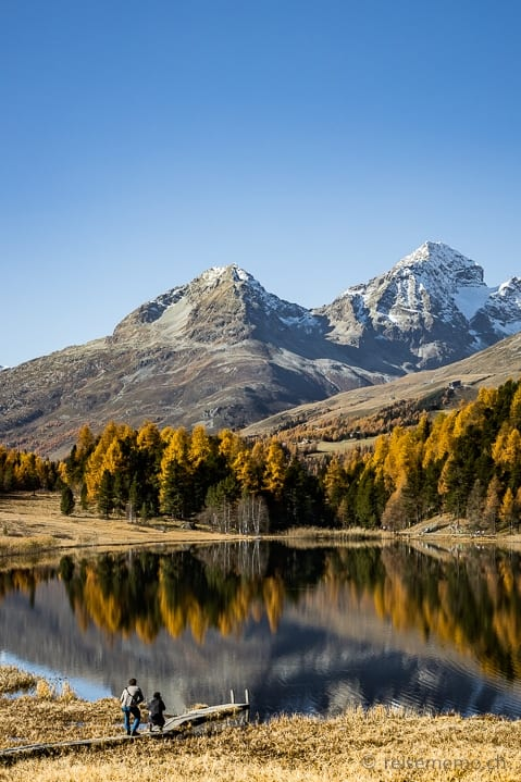 Ausflugsziel, Herbst, Herbstwanderung, Lej da Staz, Piz Albana, Piz Julier, Spiegelung, St. Moritz, Stazersee, Wanderung, https://reisememo.ch/schweiz/lej-da-staz-wanderung-st-moritz, wandern