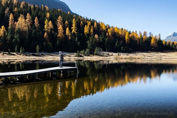 Ausflugsziel, Herbst, Herbstwanderung, Lej da Staz, Spiegelung, St. Moritz, Stazersee, Wanderung, https://reisememo.ch/schweiz/lej-da-staz-wanderung-st-moritz, wandern