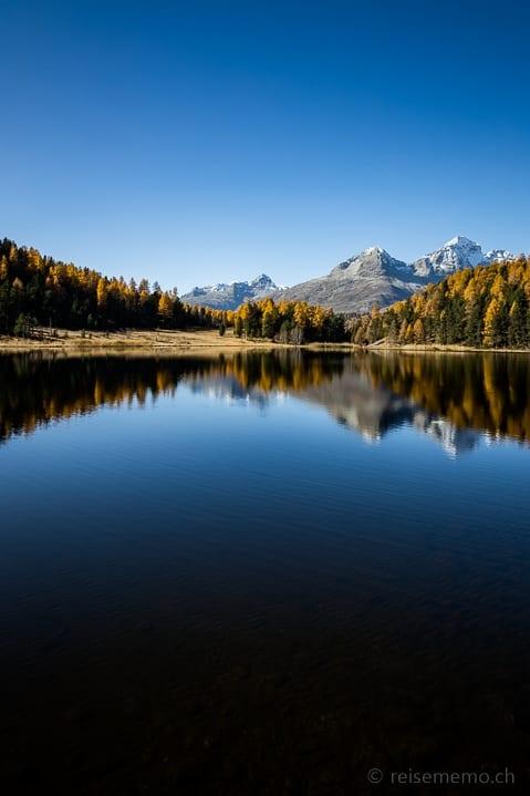 Ausflugsziel, Herbst, Herbstwanderung, Lej da Staz, Piz Albana, Piz Julier, Piz Lagrev, Spiegelung, St. Moritz, Stazersee, Wanderung, https://reisememo.ch/schweiz/lej-da-staz-wanderung-st-moritz, wandern