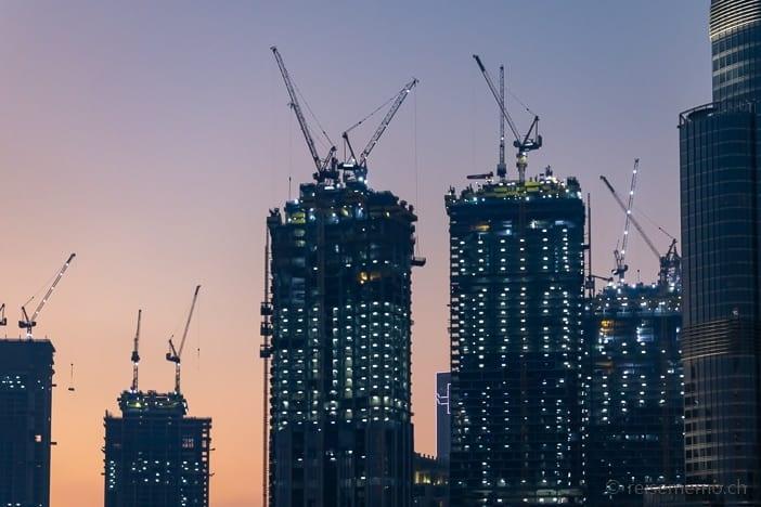 Baukräne beim Burj Khalifa
