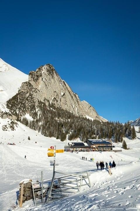 Bergstation Gamplüt vor dem Wildhauser Schafberg