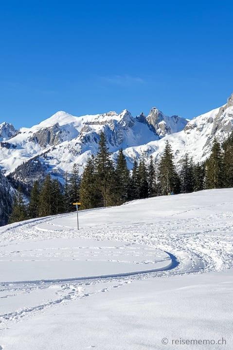 Winterwanderweg von Alp Fros nach Gamplüt