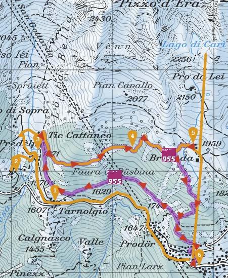 Karte der Schneeschuhwanderung Percorso Carì 955 im Tessin