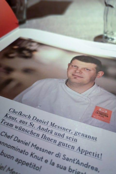 Chefkoch Daniel Messner des Bergrestaurants La Finestra