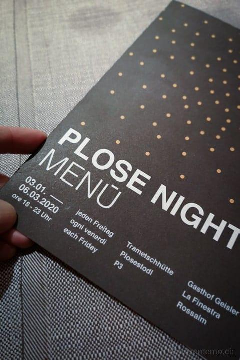 Plose Nights Menukarte von Chefkoch Daniel Messner