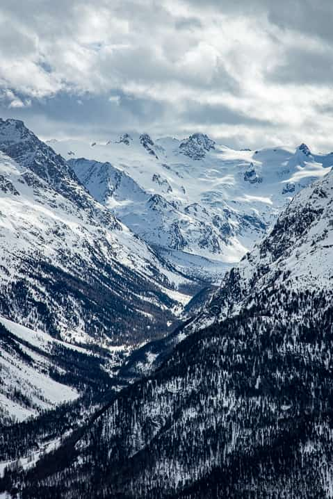 Aussicht auf den Morteratschgletscher im Bernina-Massiv