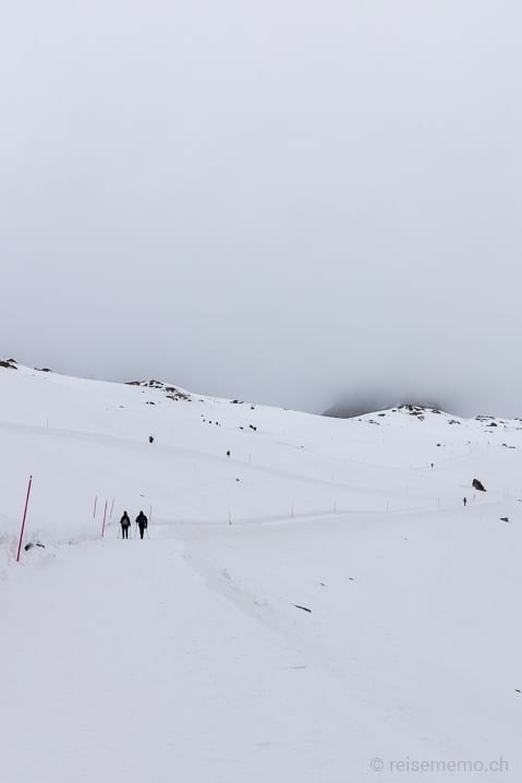 Einzelne Winterwanderer auf dem Philosophenweg