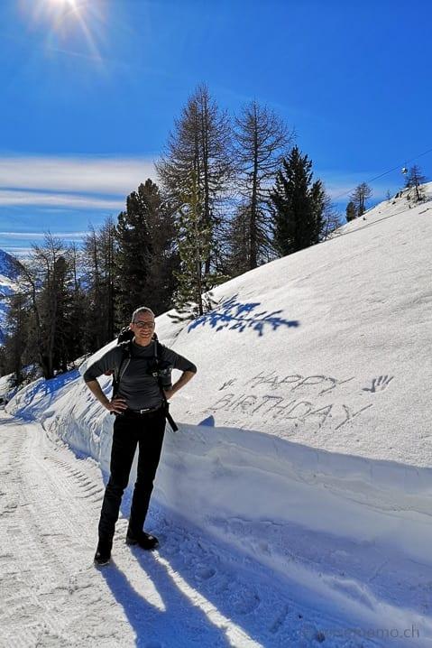 Walter auf Winterwanderung von Chantarella nach Corviglia