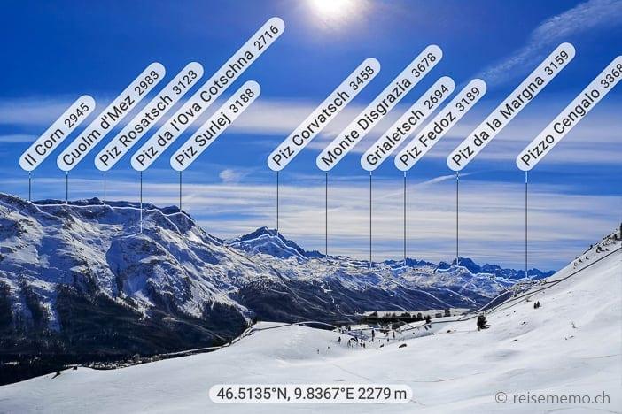Sonniger Ausblick auf das Oberengadin mit Silsersee und Gipfel um den Piz Corvatsch