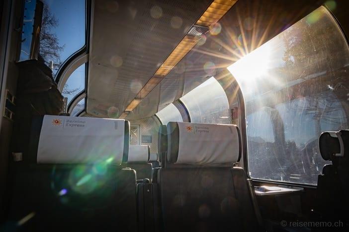 Sonne im Bernina Express Panoramawagen